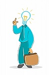 Teacher with brief case and light bulb for head